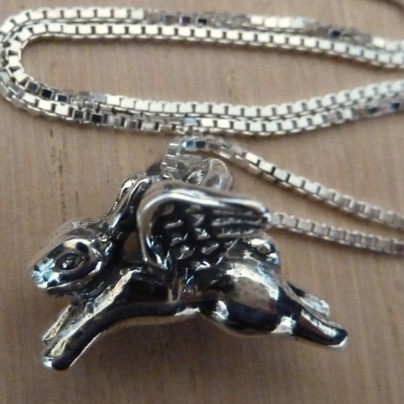 Solid sterling silver flying bunny rabbit necklace